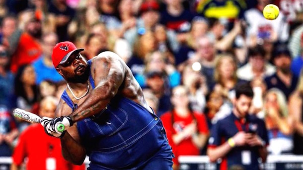 vince wilfork playing softball in overalls