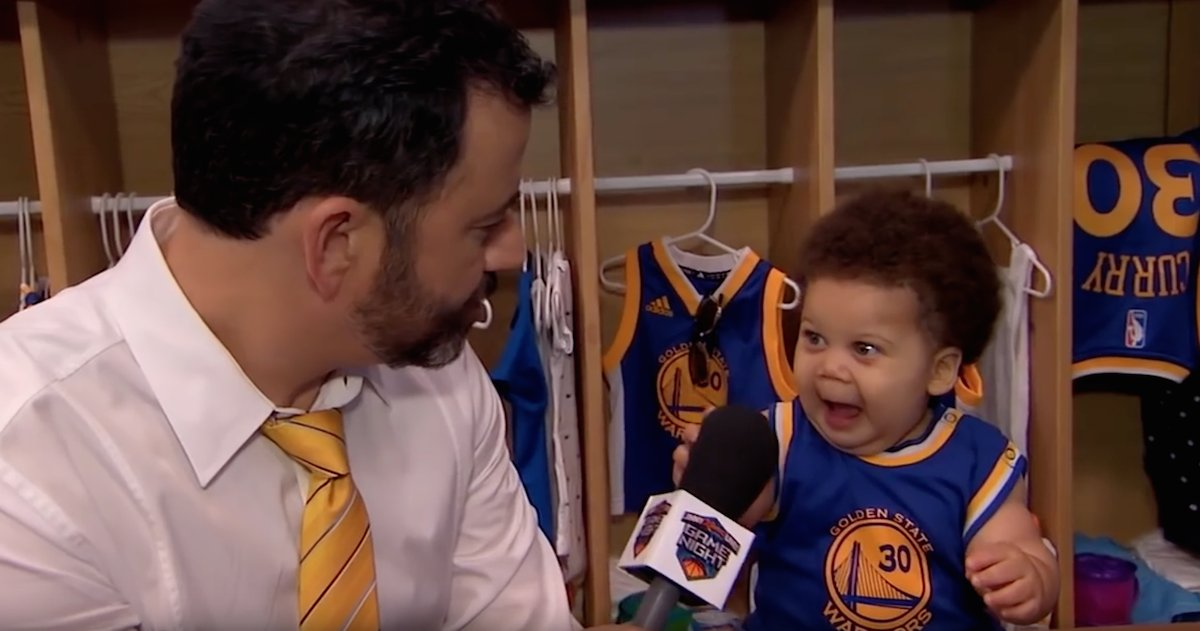 Jimmy Kimmel Interviews With Stuff Curry And Baby Lebron