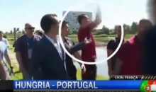 Angry Cristiano Ronaldo Throws Reporter's Microphone Into a Lake (Video)