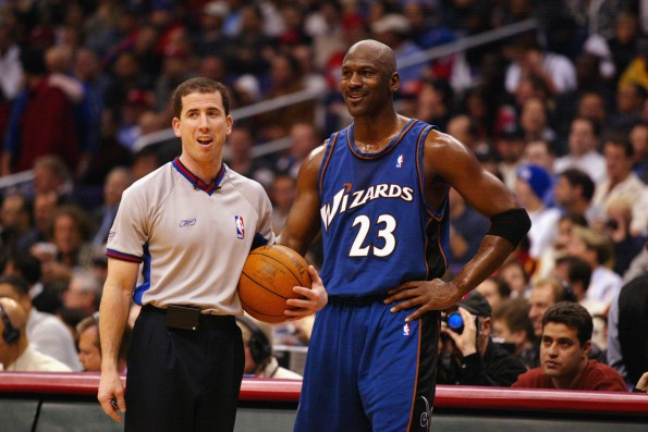 Jordan talks with referee