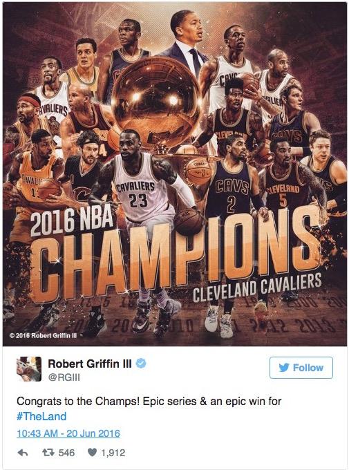 RGIII congratulates Cavaliers tweet