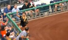 Hot Pirates Ballgirl Barehands a Nasty Bouncing Foul Ball (Video)