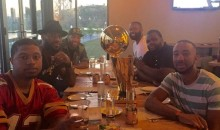 LeBron's Even Taking the Larry O'Brien Trophy Out to Eat With Him (Pics)