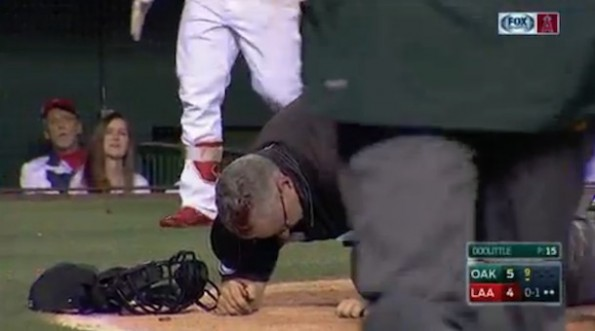 Umpire Paul Emmel Head Gash