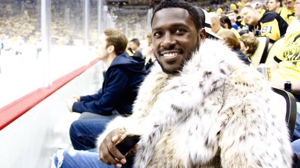 Antonio Brown Rocks Fur Coat at Pens Game | Total Pro Sports