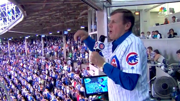 craig sager throws out first pitch sings take me out to the ballgame wrigley field cubs game