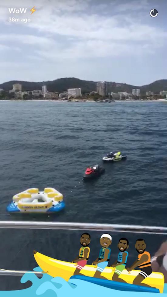 d-wade snapchat banana boat filter jet skiis