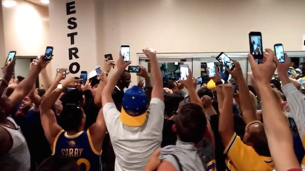 draymond green watched game 5 oakland a's game cheered outside bathroom