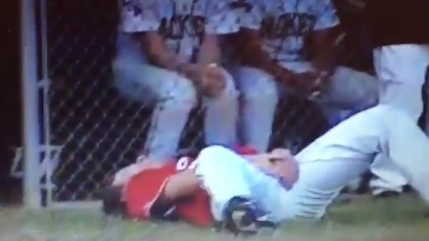 high school baseball player foul ball to the crotch