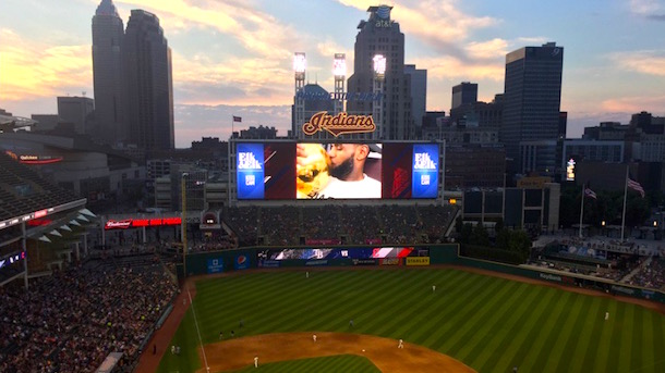 lebon kiss cam indians game larry obrien trophy