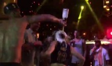 JR Smith Celebrates by Pouring Champagne on a Woman's Head (Video)