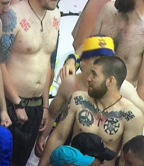 ukraine fans with swastika tattoos euro 2016