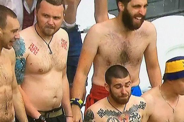 ukraine soccer fans with swastika tattoos probably racists