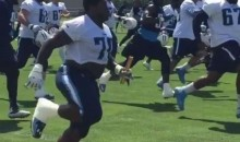 Titans Offensive Linemen Run 'Fat-Man Relay Race' at Mini Camp (Video)