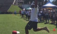 Cam Newton Knocked a Monster Kickball Home Run in Some Crazy-Tall Boots (Video)