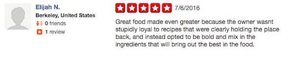 KD's Yelp reviews