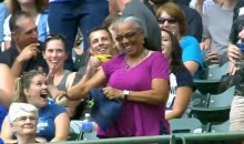 Lady Makes an Awesome Catch Using Her Hat, Then Does a Celebration Dance (Video)