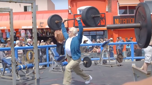 crofffit competitor dresses up as old man at venic muscle beach