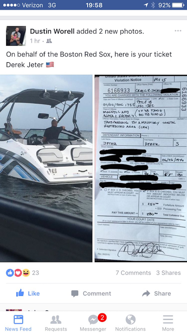 derek jeter boating ticket fourth of july