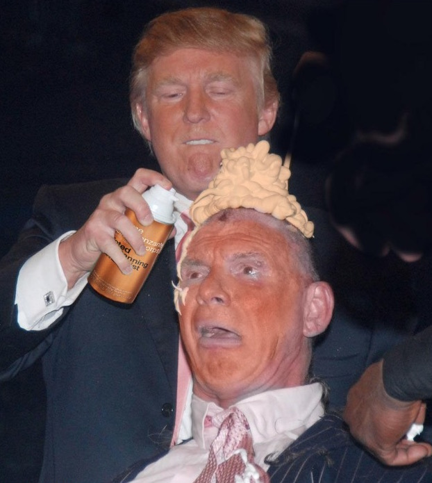 donald trump vince mcmahon photoshops (photo of donald trump shaving vince mcmahon's head sparks photoshop battle) 12
