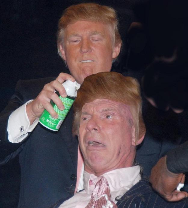 donald trump vince mcmahon photoshops (photo of donald trump shaving vince mcmahon's head sparks photoshop battle) 2