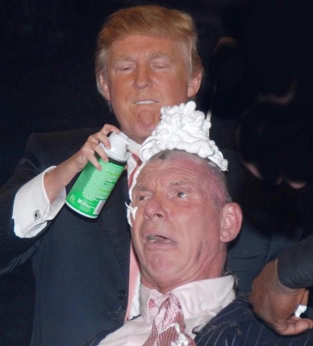 donald trump vince mcmahon photoshops (photo of donald trump shaving vince mcmahon's head sparks photoshop battle) 6
