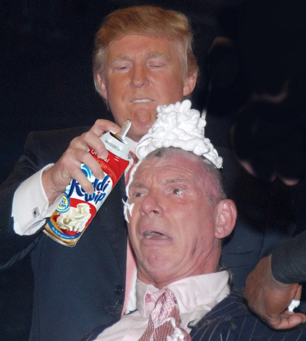 donald trump vince mcmahon photoshops (photo of donald trump shaving vince mcmahon's head sparks photoshop battle) 9