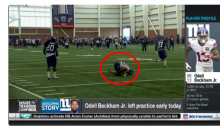 Report: Odell Beckham Jr. Leaves Practice on a Cart During Camp (Video)