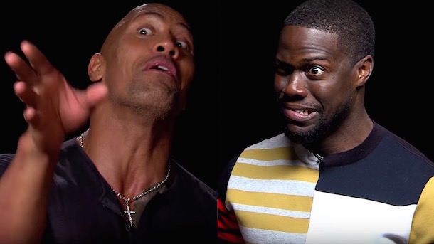 dwayne johnson and kevin hart immitate each other