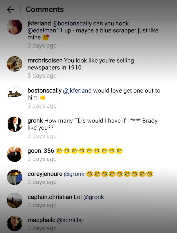 Gronk trolls Edelman savage Instagram comment