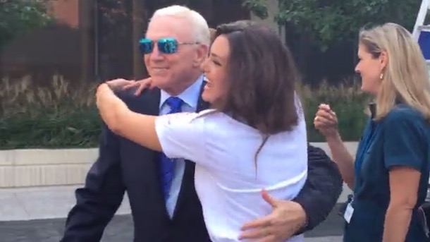 jerry jones gets free hug from hot chick