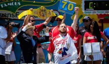 Joey Chestnut Eats 70 Hot Dogs to Reclaim Title at Nathan's Hot Dog Eating Contest (Video)
