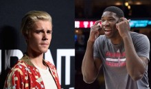So Here's Justin Bieber Arm Wrestling Joel Embiid for Some Reason (Video)