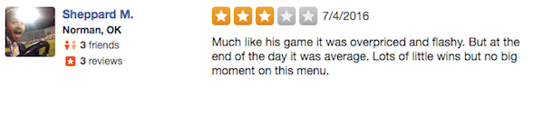 kevin durant yelp review