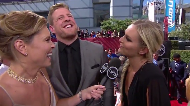 lindsey vonn j.j. watt groin massages espys red carpet