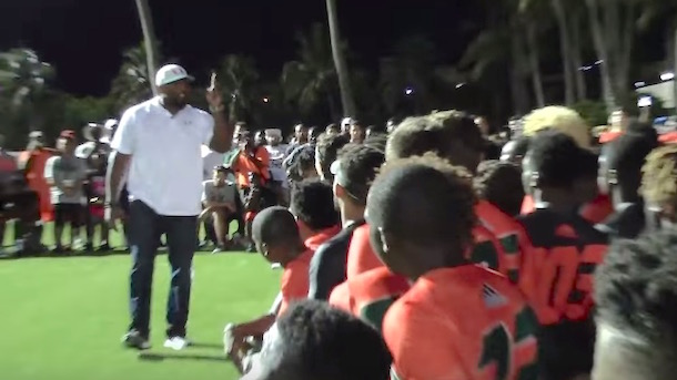 ray lewis gives motivational speech to miami football recruits