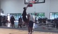 Shaq Lets His Son Shareef O'Neal Dunk All Over Him Because He Needs Practice Dunking On Big Men (Video)