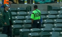 Ice Cream Vendor Gets Drilled From Behind By a Foul Ball (Video)