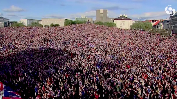 viking clap welcome home iceland national soccer team euro 2016