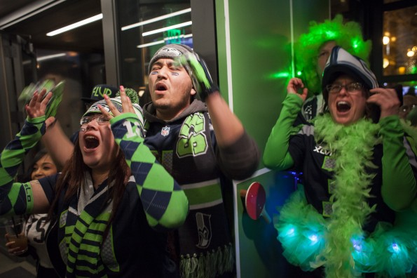 Seahawks Fans Gather To Watch Super Bowl XLIX, Seattle Vs. New England