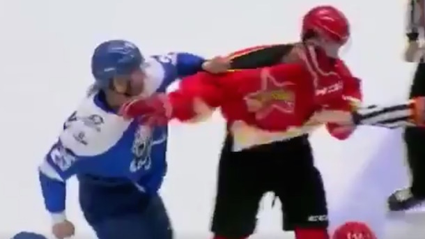 Russian hockey player goes on solo fighting frenzy in wild preseason game