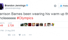 Brandon Jennings Clowns Harrison Barnes For Riding Bench During The Olympics