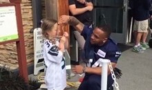 Adorable Seahawks Fan Gives Thomas Rawls a Friendship Necklace