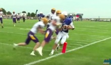 Iowa HS QB Takes a Brutal Hit as He Crosses the Plane For a TD (Video)