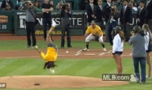 Jamaican Gymnast Toni-Ann Williams Attempts Cartwheel First Pitch, Fails Miserably (GIF)