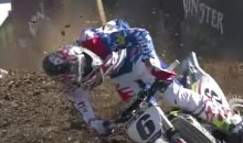 Motorcross Rider Celebrates After Crossing Finish Line, Gets Hit in the Head by Airborne Rider (Video)