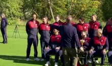Awkward! Tiger Woods Gets Booted from Ryder Cup Team Photo (Video)