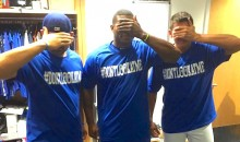 Dodgers Troll Giants with #DONTLOOKATME T-Shirts, Yasiel Puig Autographs One for Madison Bumgarner (Pics)