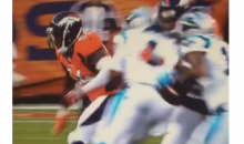 Panthers QB Cam Newton With a Vicious Block on Broncos LB Shane Ray (Video)