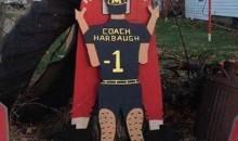 Here's a Cardboard Cutout of Michigan Coach Jim Harbaugh Pleasuring Ohio State Mascot Brutus Buckeye (Pic)
